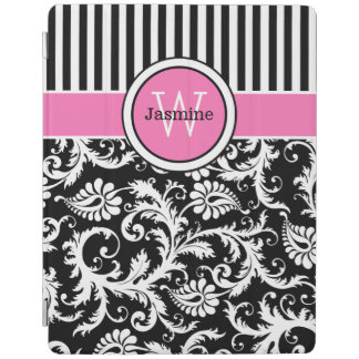 iPad 2,3,4 Cover | Pink Black White Stripes Damask iPad Cover
