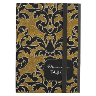 IPad 2 - Glitter Floral Leaf Swirl Damask Bling Cover For iPad Air