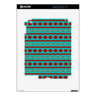 iPad 2 (Wi-Fi/Wi-Fi + 3G)Skin with Teal Red Design Skin For iPad 2