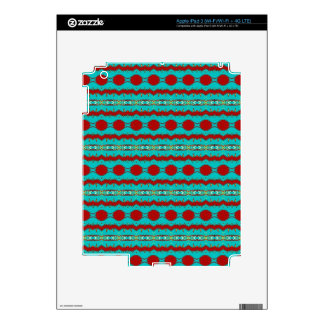 iPad 3 Skin with Teal and Red Design