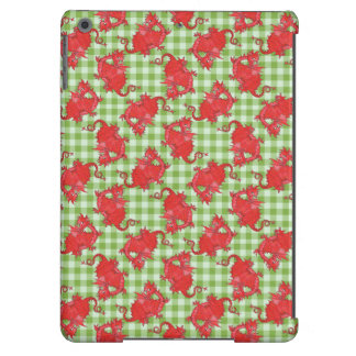 iPad Air Case : Red Dragons on Green Gingham