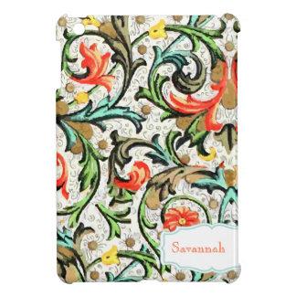 iPad amarillo floral personalizado del damasco de  iPad Mini Carcasa