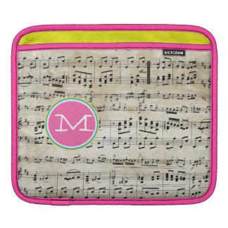iPad amarillo rosado de la partitura de Bach del Fundas Para iPads