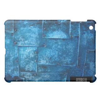 iPad azul de las placas de metal