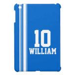 Ipad azul y blanco conocido del nombre y del númer iPad mini protector