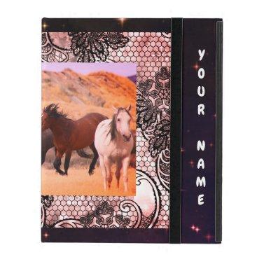 IPAD CASE 2/3/4 CUSTOMIZABLE W/ WILD HORSES