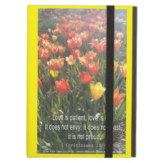 iPad case - Tulips photo with Bible Verse