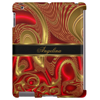 iPad Cover Case Red Gold Abstract