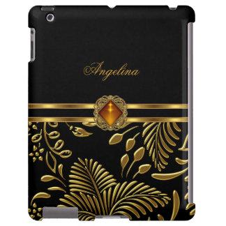 iPad Cover Floral Pattern Gold Black Damask jewel