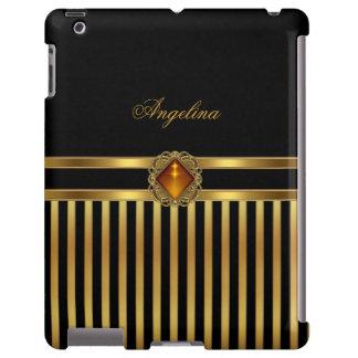 iPad Cover Stripe Pattern Gold Black Amber jewel