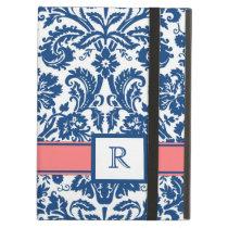 iPad Custom Monogram Blue Coral Floral Damask iPad Air Cover