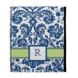 iPad Custom Monogram Blue Lime Floral Damask iPad Folio Cases
