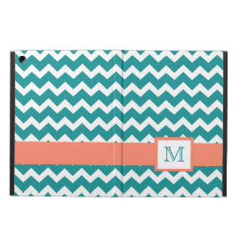 iPad Custom Monogram Coral Teal Chevrons iPad Air Case