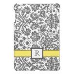 iPad Custom Monogram Grey Lemon Floral Damask iPad Mini Covers
