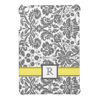 iPad Custom Monogram Grey Lemon Floral Damask iPad Mini Cover