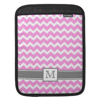 iPad Custom Monogram Grey Pink Chevrons iPad Sleeves