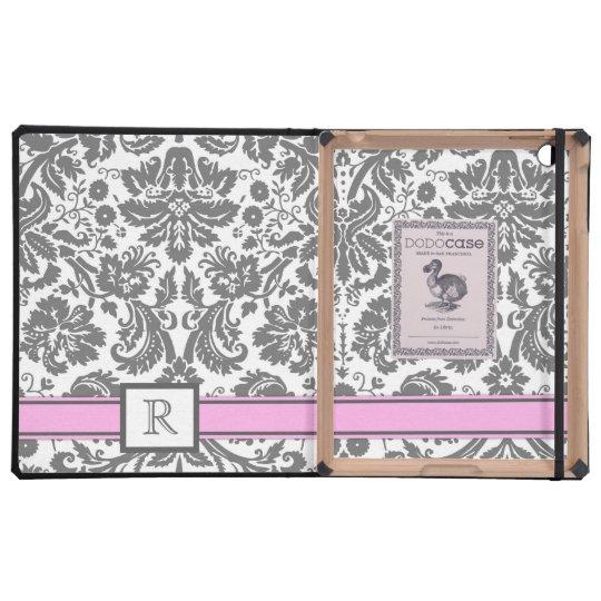 iPad Custom Monogram Grey Pink Floral Damask iPad Case