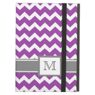 iPad Custom Monogram Grey Purple Chevrons iPad Folio Case