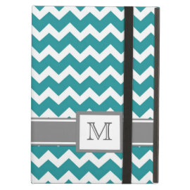 iPad Custom Monogram Grey Teal Chevrons iPad Case