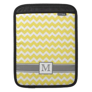 iPad Custom Monogram Grey Yellow Chevrons Sleeves For iPads