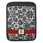 iPad Custom Monogram Red Black Floral Damask iPad Sleeve
