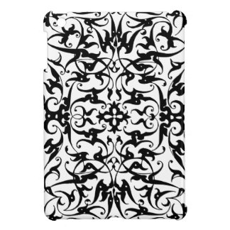 Ipad floral del damasco del art déco negro y blanc