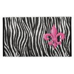 iPad Folio Case - Zebra  w/ Hot Pink Fleur de Lis
