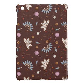 iPad Mini case -  Brown w/ multicolored flowers