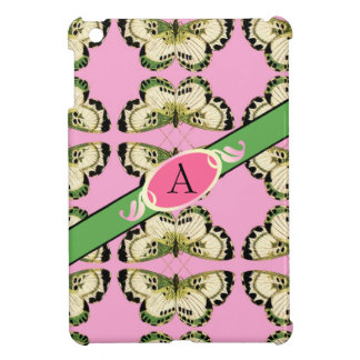 iPad Mini case butterfly monogram pink and green
