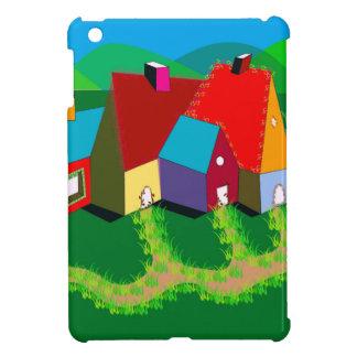 iPad Mini Case with Folk Art Houses