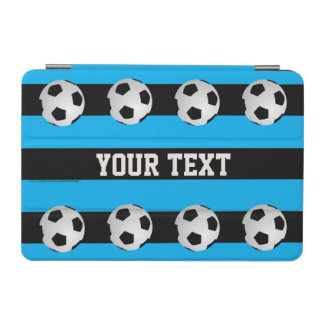 iPad Mini Cover, Blue Striped with Soccer Balls