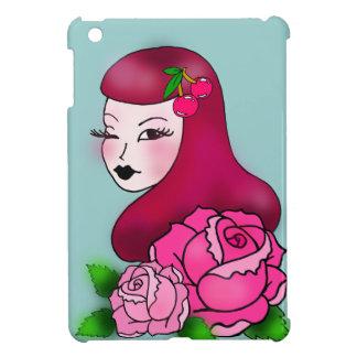 iPad Mini Cover Retro Tattoo Girl with roses