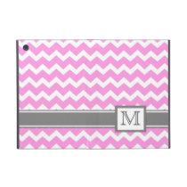 iPad Mini Custom Monogram Grey Pink Chevrons Case For iPad Mini