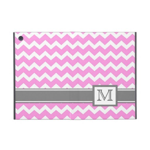 iPad Mini Custom Monogram Grey Pink Chevrons iPad Mini Cases