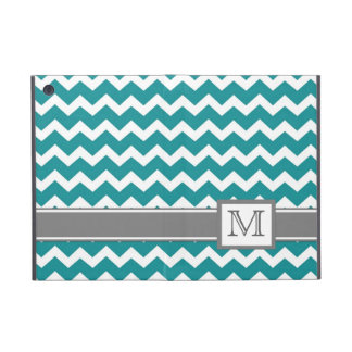 iPad Mini Custom Monogram Grey Teal Chevrons Cover For iPad Mini
