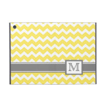 iPad Mini Custom Monogram Grey Yellow Chevrons Cover For iPad Mini