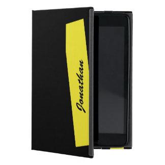 iPad Mini Folio Case, Triple Stripe, Yellow Black iPad Mini Cover
