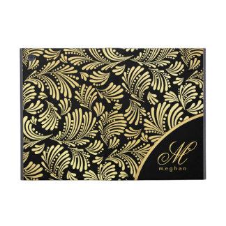 iPad negro del folio del monograma del oro mini iPad Mini Protectores