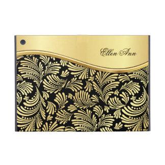 iPad negro floral del folio del oro mini iPad Mini Protectores