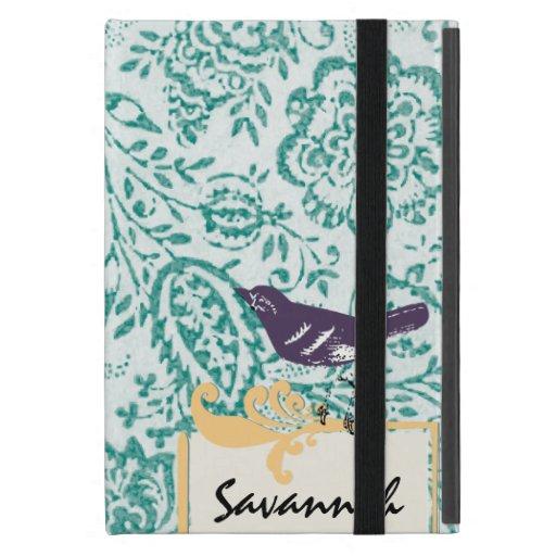 iPad púrpura floral del pájaro del vintage del iPad Mini Protector