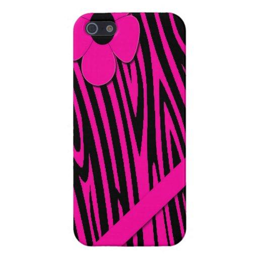 Ipad rosado del estampado de zebra mini iPhone 5 funda