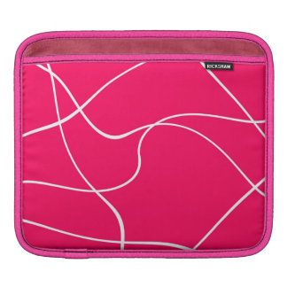 "IPad sleeve - ""Abstract lines"" - Fuschia and white"