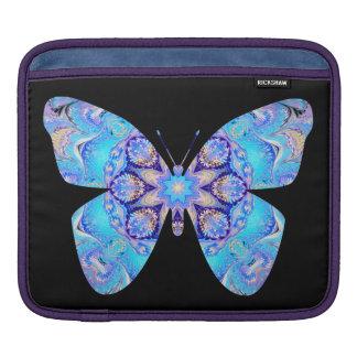 iPad Sleeve Blue Kaleidoscope Butterfly on Black