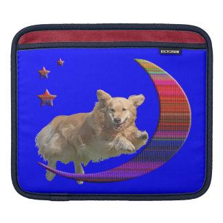 iPad Sleeve Golden Retriever Jumping Plaid Moon