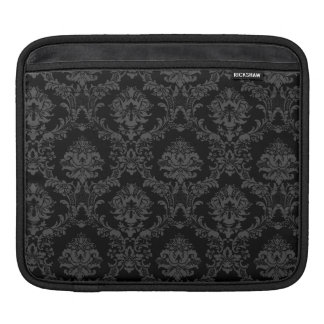 iPad Sleeve in Black Damask Pattern