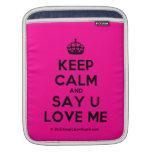 [Crown] keep calm and say u love me  iPad Sleeves