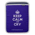 [Crown] keep calm and cry  iPad Sleeves