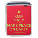 [Xmas tree] keep calm and make peace on earth  iPad Sleeves