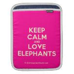 keep calm and love elephants  iPad Sleeves