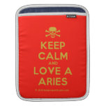 [Skull crossed bones] keep calm and love a aries  iPad Sleeves